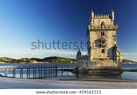 Belem Tower in sunset light, Lisbon, Portugal - stock photo