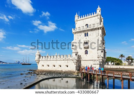 Belem Tower is a fortified tower located in the civil parish of Santa Maria de Belem in Lisbon, Portugal - stock photo
