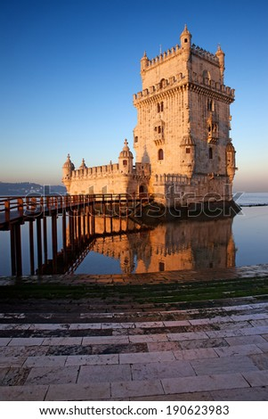 Belem Tower on the Tagus river at sunrise in Lisbon, Portugal. - stock photo