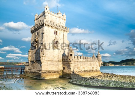 Belem Tower on the Tagus river in the morning, famous city landmark in Lisbon, Portugal. - stock photo