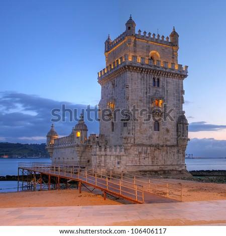 Belem Tower (Torre de Belem) in Belem, Lisbon, Portugal at sunset time. - stock photo