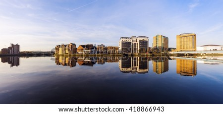 Belfast architecture along River Lagan. Belfast, Northern Ireland, United Kingdom. - stock photo