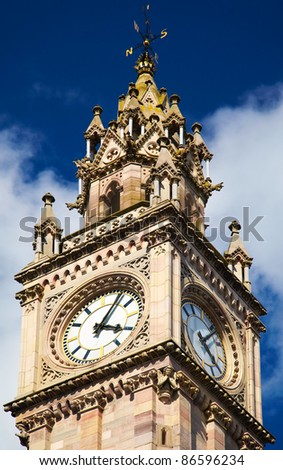 Belfast Clock  tower - Prince Albert Memorial Clock at Queen's Square in Belfast, Northern Ireland - stock photo