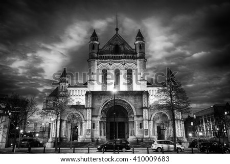 Belfast, County Antrim, Northern Ireland - Aprl 18, 2016:  Saint Anne's Cathedral, Church of Ireland. One of Belfast's two cathedrals, in the city centre, black and white. - stock photo