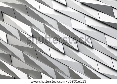 Belfast, Northern Ireland - September 19, 2014 : Textured wall of the Titanic museum .Titanic Belfast is a visitor attraction and a monument to Belfast's maritime heritage . - stock photo