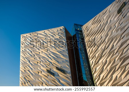 BELFAST- SEP 27: The new Titanic visitor centre in Titanic Quarter, Belfast. Titanic Belfast has attracted nearly a million visitors in it's first year. This was taken 27th September 2014 - stock photo