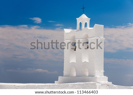 Belfry from one of the numerous chapels on the Greek island of Sifnos - stock photo