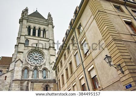 Belfry of St. Pierre Cathedral in Geneva, Switzerland - stock photo