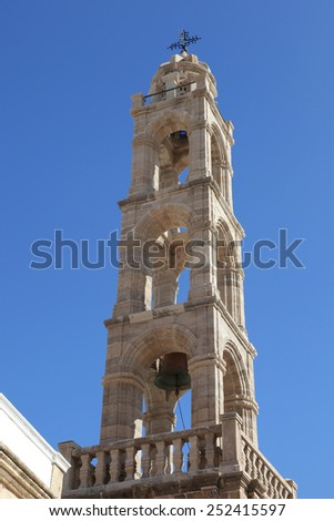 belfry of the church in Lindos on the island of Rhodes, Greece - stock photo