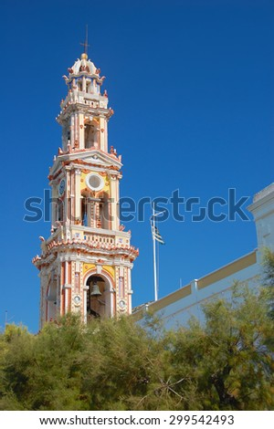 Belfry of the orthodox monastery of Panormitis at the Greek island of Symi (Simi).Dodecanese. Greece. - stock photo
