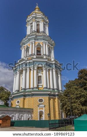 Belfry of the Pechersk Lavra in Kiev, Ukraine - stock photo