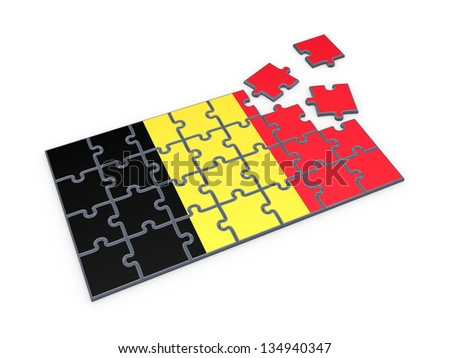 Belgian flag made of puzzles.Isolated on white.3d rendered. - stock photo