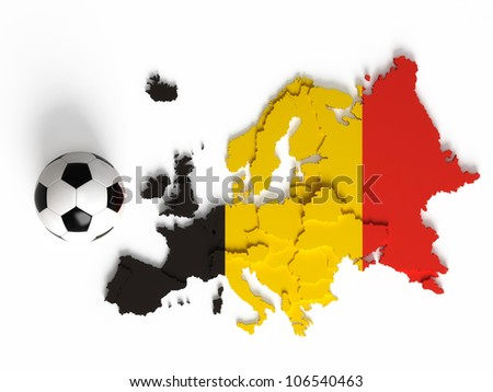 Belgian flag on European map with national borders, isolated on white background - stock photo