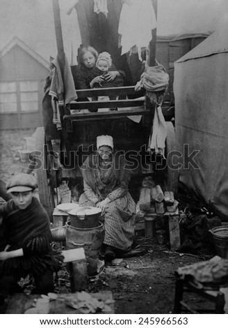 Belgian refugees in the Bergen Op Zoom refugee camp in Holland during WWI. German invaders allowed some women and children to evacuate to Holland but kept the men, were put to forced labor. 1914-15. - stock photo