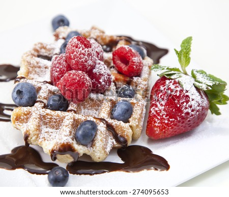 Belgian waffle with powdered sugar and a strawberry  - stock photo
