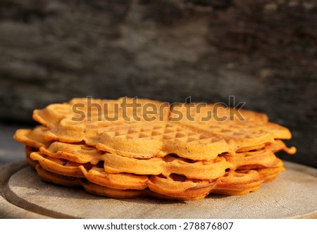 Belgian waffles in open air - stock photo