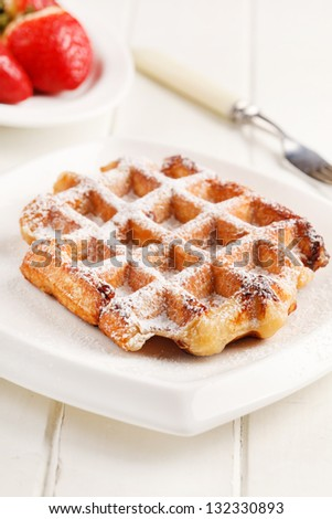 belgian waffles with fresh strawberries - stock photo