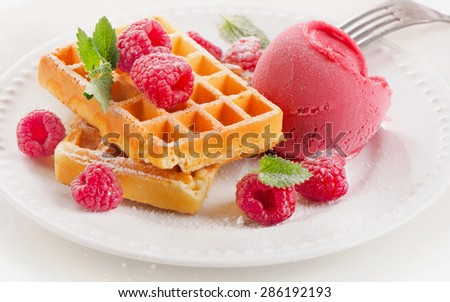 Belgian waffles with raspberries sorbet. Selective focus - stock photo