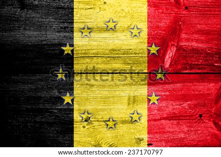 Belgium and European Union Flag painted on old wood plank texture - stock photo