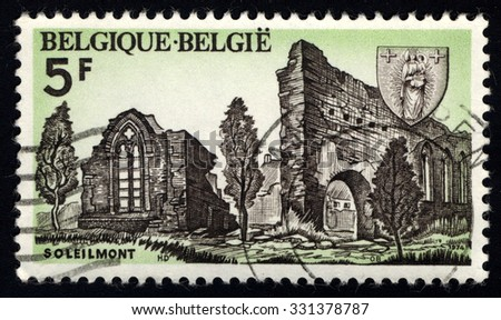 BELGIUM - CIRCA 1974: A stamp printed in the Belgium, shows Historical buildings and monuments of Belgium, circa 1974 - stock photo