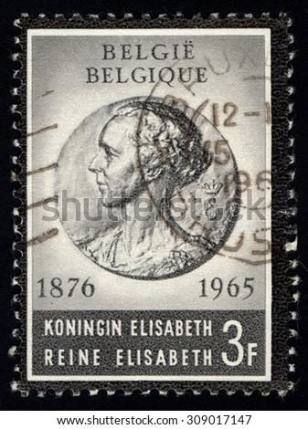 BELGIUM - CIRCA 1965: A stamp printed in the Belgium shows Queen Elisabeth, Queen of England (1876-1965), circa 1965 - stock photo