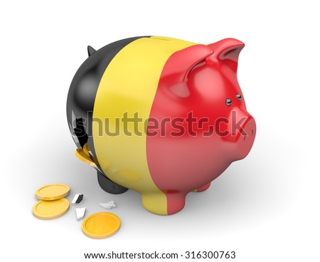 Belgium economy and finance concept for GDP and national debt crisis - stock photo