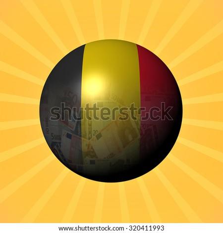 Belgium flag euros sphere on sunburst illustration - stock photo