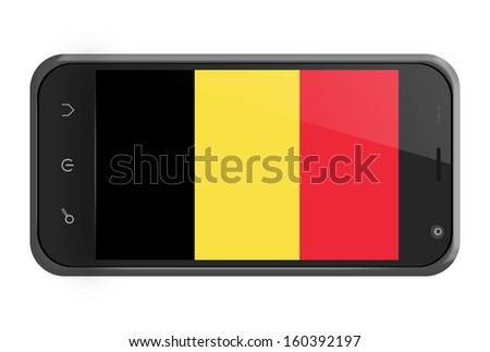 Belgium flag on smartphone screen isolated on white - stock photo