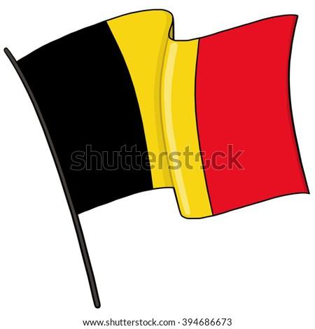 Belgium flag with pole illustration - stock photo