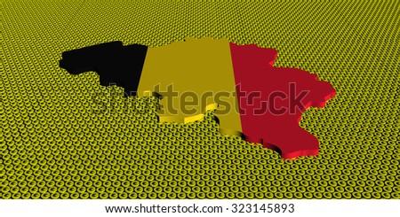Belgium map flag on golden euros coins illustration - stock photo