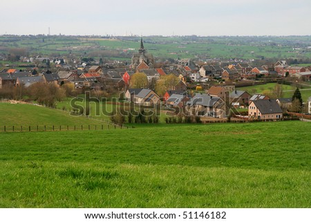 Belgium, panoramic view of Clermont. Environs Liege. - stock photo