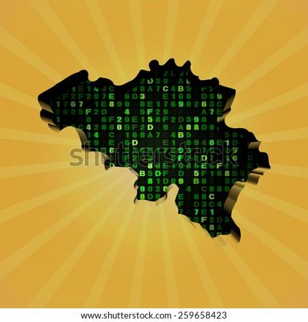 Belgium sunburst map with hex code illustration - stock photo