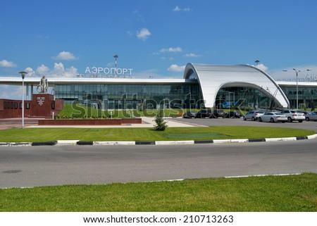 BELGOROD, RUSSIA - JUNE 9, 2014: New passenger terminal of Belgorod International airport. Opened in 2013, new terminal can serve 450 persons per hour - stock photo