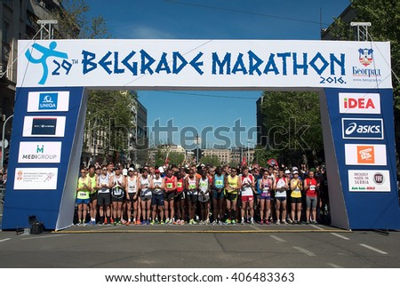 """BELGRADE-APRIL16:A group of runners waiting for start on """"The29th Belgrade Marathon"""".April 16, 2016 in Belgrade,Serbia  - stock photo"""
