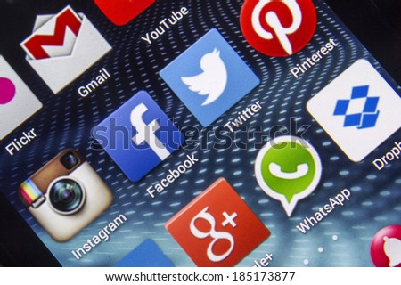 BELGRADE - APRIL 03, 2014 Popular social media icons on smart phone screen close up - stock photo