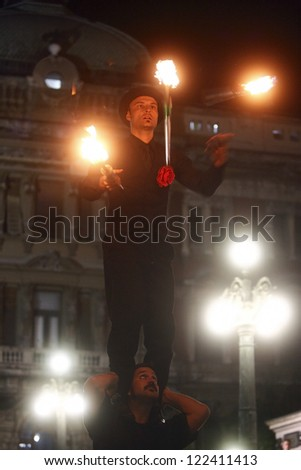 BELGRADE - AUG 26: Artist from Mr.Kowalski group from Croatia performs during Buskerfest, Street performers festival on August 26, 2011 in Belgrade, Serbia. - stock photo