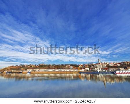 Belgrade, colorful, view from river Sava , bridge, Serbia - stock photo