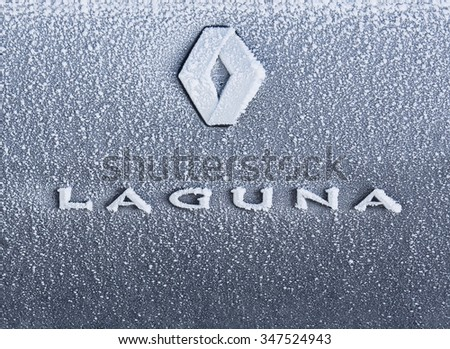 BELGRADE - JANUARY 14: Frozen Renault Laguna logo on Jan. 14, 2015 in Belgrade, Serbia. Renault S.A. is a French car manufacturer producing cars, vans,  trucks, tractors, tanks, autorail vehicles - stock photo