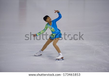 "BELGRADE - JANUARY 23: Italia's Chenny Paolucci performs her free skating program at  Europa Cup figure skating competition ""Skate Helena"" in Belgrade, Serbia on January 23, 2014 - stock photo"