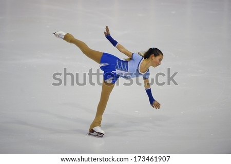"BELGRADE - JANUARY 23: Italia's Priscilla Colella performs her free skating program at Europa Cup figure skating competition ""Skate Helena"" in Belgrade, Serbia on January 23, 2014 - stock photo"