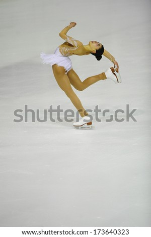 "BELGRADE - JANUARY 25: Philippines' Frances Clare Untalan performs free ice skating at Europa Cup figure skating competition ""Skate Helena"" in Belgrade, Serbia on January 25,2014 - stock photo"