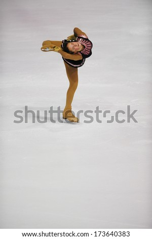 "BELGRADE - JANUARY 25: Serbia's Milica Jokic performs free skating at Europa Cup figure ice skating competition ""Skate Helena"" in Belgrade, Serbia 25, 2014 - stock photo"