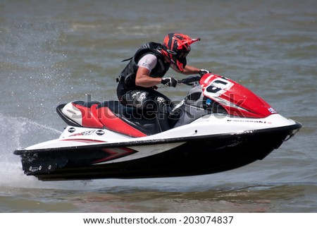 "BELGRADE-JULY5:Unidentified competitor during the race on "" Balkans Jet Ski Championship-2014"".On July 5,2014 in Belgrade,Serbia  - stock photo"