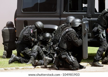 "BELGRADE-JUNE 3:""Celebration of Serbian Police day"",Anti-terrorist unit of the Serbian police in action . On June 3,2012 in Belgrade,Serbia - stock photo"