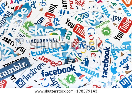 BELGRADE - JUNE 13, 2014 Social media website logos Facebook, Twitter and other printed on paper - stock photo
