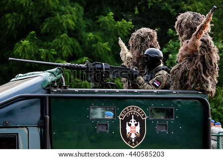 """BELGRADE-JUNE20:Special units of the Serbian police on """"Celebration of Serbian Police day"""". On June 20,2016 in Belgrade,Serbia - stock photo"""