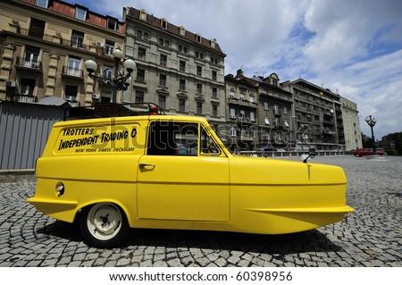 BELGRADE - JUNE 26: Trotters mini van seen on annual meeting of oldtimers June 26, 2010 in Belgrade, Serbia. - stock photo