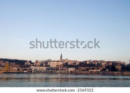 Belgrade landscape on river Sava - stock photo