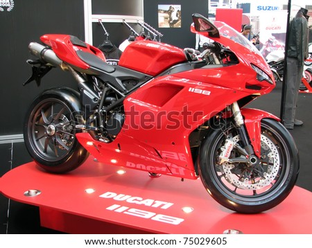 "BELGRADE - MARCH 16: A Ducati 1198 on display at the 4th International Motor Show ""Motopassion"" on March 16, 2009 in Belgrade, Serbia. - stock photo"