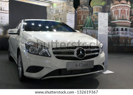 BELGRADE-MARCH 23: Car Mercedes A-Class on  the 51th International Belgrade car show.March 23,2013 in Belgrade, Serbia - stock photo